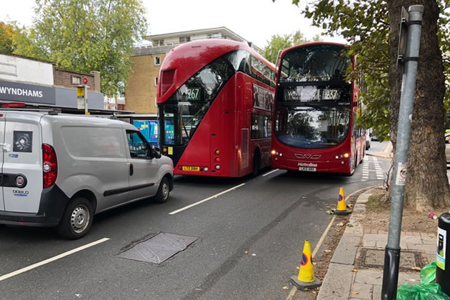 Cycle lane has led to a narrowing of Chiswick High Road