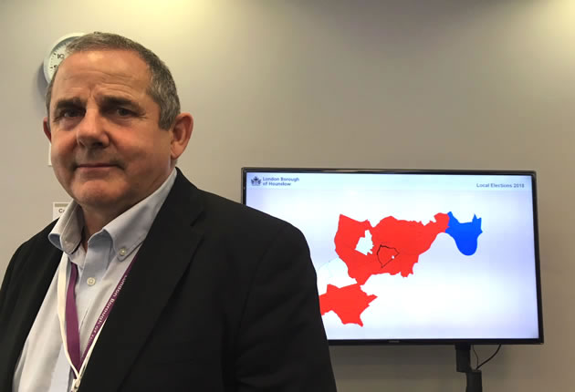 Hounslow Council leader Steve Curran in front of political map of the borough